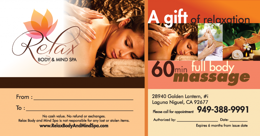 Give you or your loved ones the gift of a 60 min. Full Body Massage from Relax Body and Mind Spa in Laguna Niguel