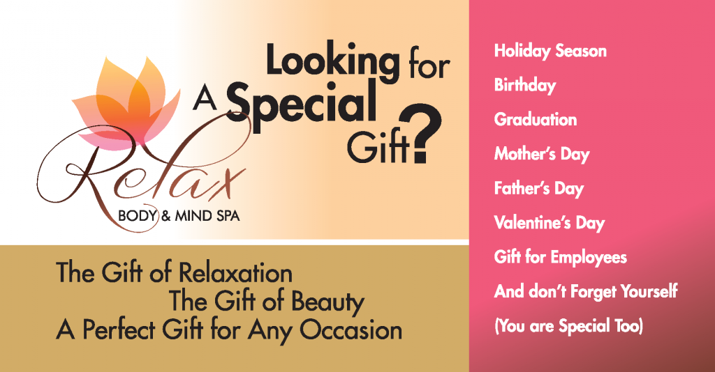 Give you or your loved ones the gift of relaxation from Relax Body and Mind Spa in Laguna Niguel