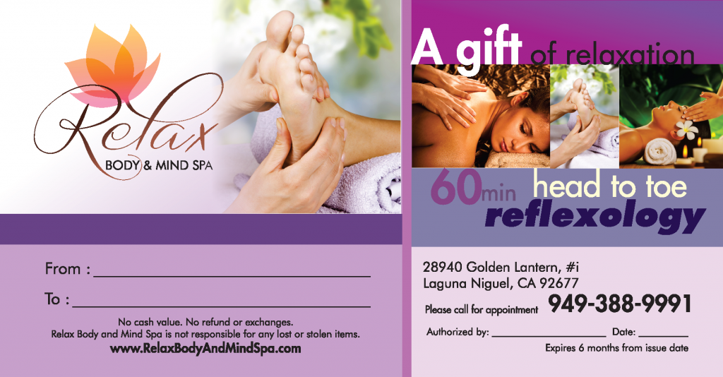 Give you or your loved ones the gift of a 60 min Head to Toe Reflexology from Relax Body and Mind Spa in Laguna Niguel